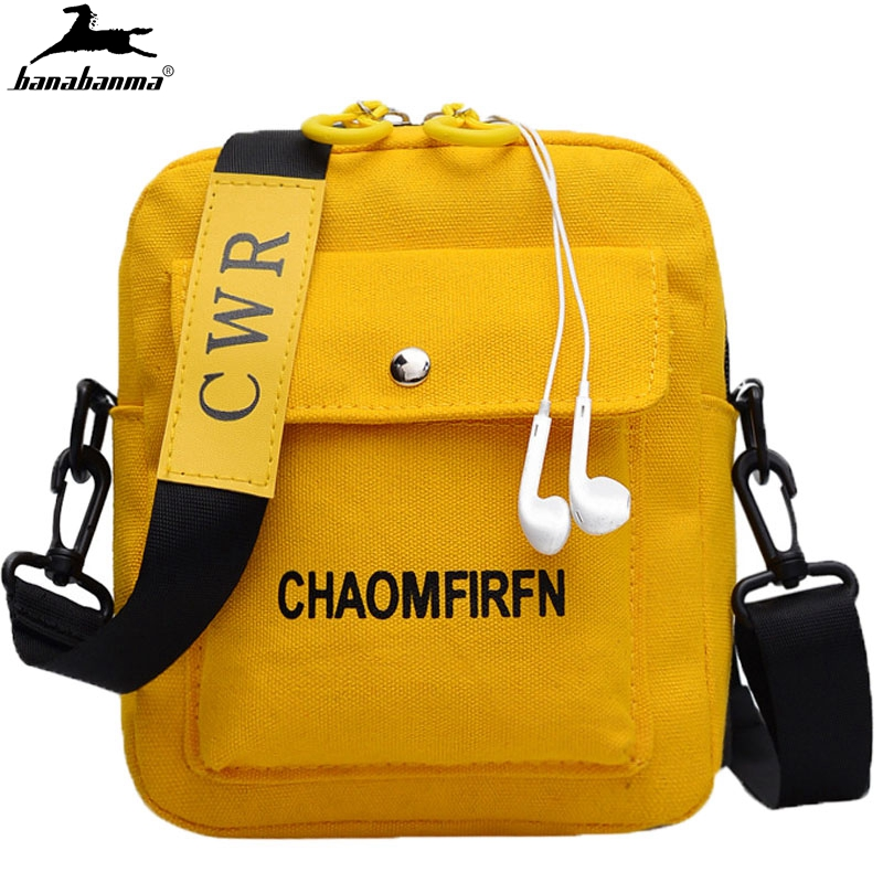 Girls College Wind Shoulder Bag Women Fashion Pure Color Casual Tote Girls Canvas Zipper Messenger Bag Simple Cell Phone Bag