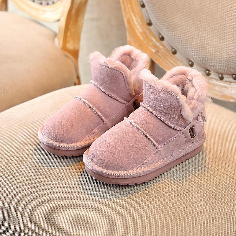 Детская обувь; зимние модели 2019 года; детские зимние ботинки; кожаные ботинки; Толстые Теплые повседневные ботинки для мальчиков; хлопковые ботинки для девочек
