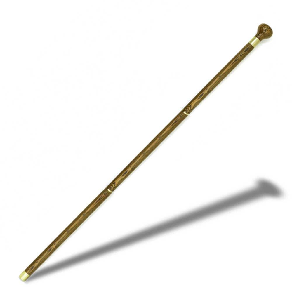 Bastón para caminar de madera caña de madera Vintage madera cabeza redonda bastones 3 secciones plegable suave viaje bastón de caballero portátil