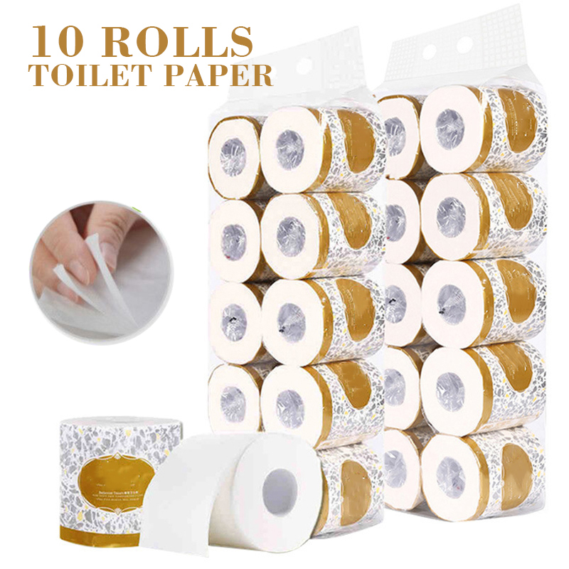 10 Rolls Toilet Paper 3-ply Toilet Tissue Soft White Multifunction Home Bathroom Paper Roll Toilet Paper