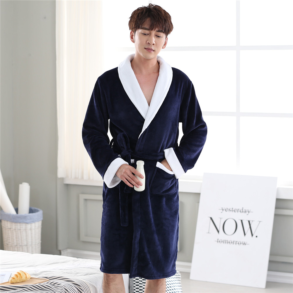 Full Sleeve Negligee Male Winter Warm Kimono Bathrobe Gown Nightwear V-neck Home Dressing Gown Solid Colour Intimate Lingerie