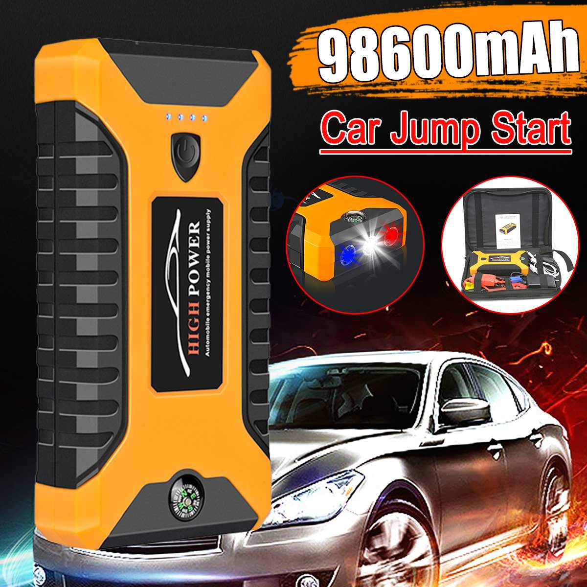 98600mAh de alta potencia de arranque de coche 12V dispositivo de arranque portátil cargador de batería de coche para coche Booster bumper 4 USB