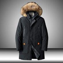 Winter Thicken Mens Fur Down Padded Jacket Hoody Warm Cotton Multi-pocket Parka Men Casual Parkas Long Windbreaker Male Outwear