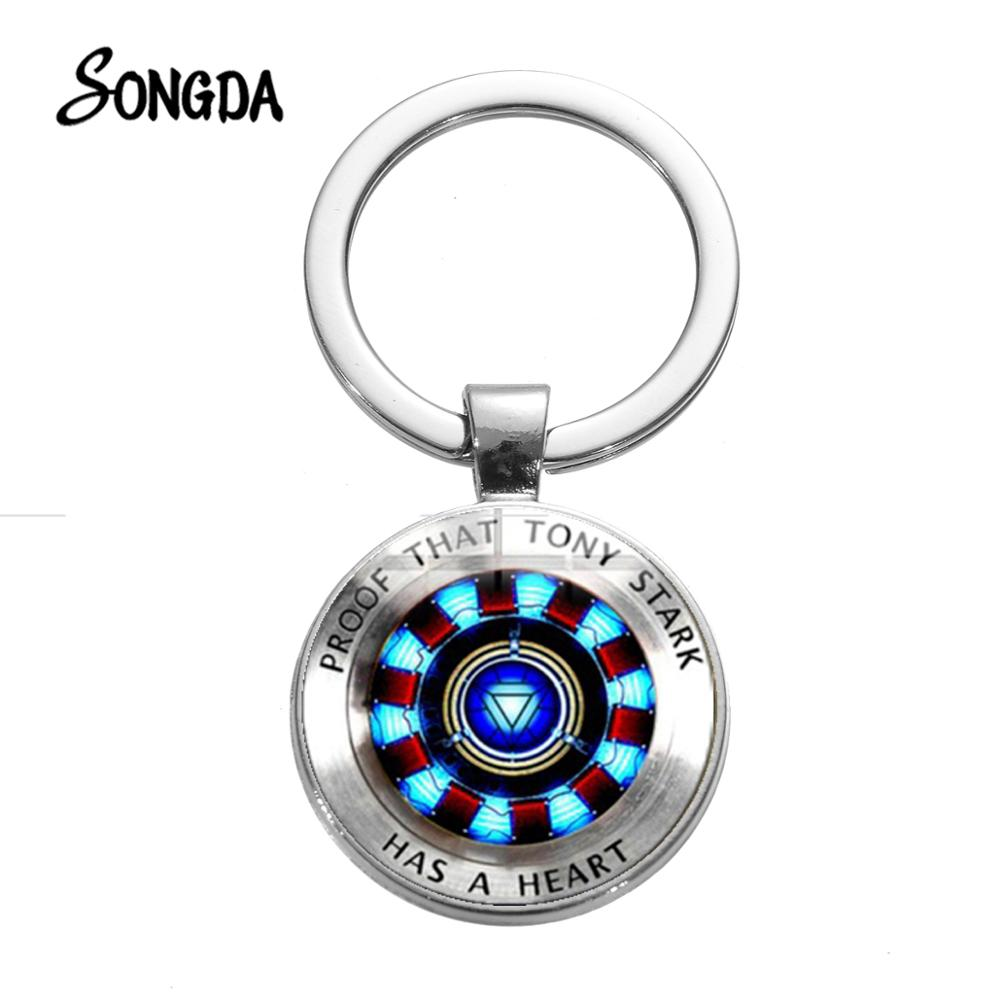 SONGDA New Cool Iron Man Tony Stark Keychain The Avengers 4 Arc Reactor Sign Glass Crystal Keyring Chains Hot Movie 2019 Collect