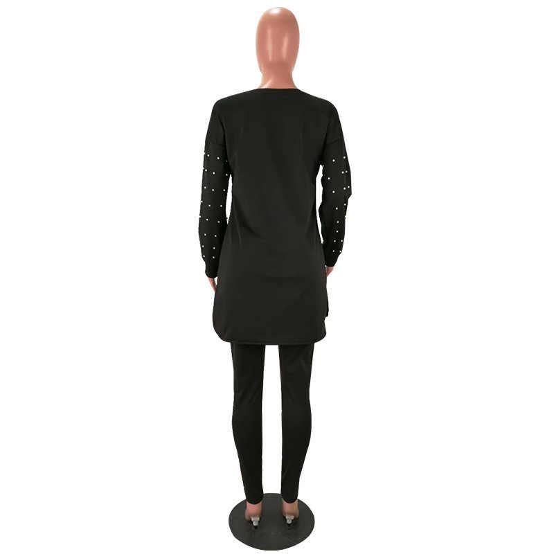 Черный жемчуг, комплект из 2 предметов, осенняя уличная одежда, Женский пуловер с круглым вырезом, футболка + брюки-карандаш, повседневные женские спортивные костюмы, HM6170G