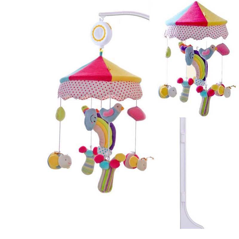Nouveau-né berceau cloche apaiser jouets en peluche tissu musique rotatif hochet 0-3-6-12 mois bébé voiture suspendu lit suspendu parapluie
