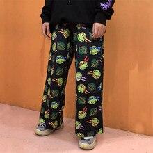 Calças femininas primavera harajuku carga dos desenhos animados calças femininas camuflagem streetwear calças casuais hip pop cintura alta sweatpants