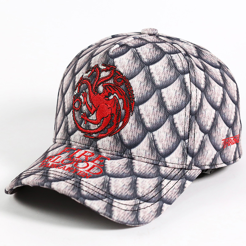 Targaryen Fire And Blood Dragon Logo Baseball Cap Dad Hat Cotton Embroidery Unisex Snapback Caps