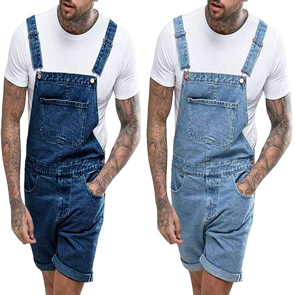 Men's Plus Size Short Overalls Dungarees Men Large Size Denim Overalls Fashion Shorts With Pocket Loose Style Jumpsuits For Men