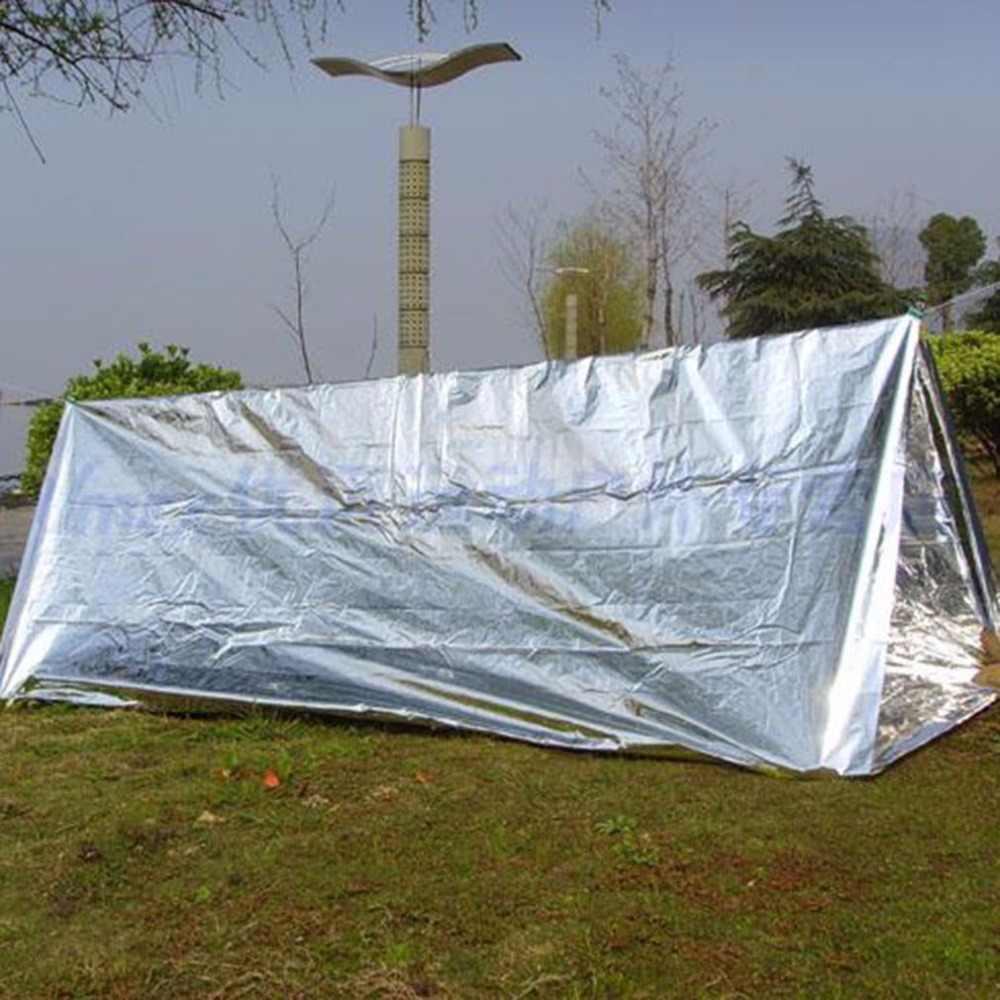 Duży rozmiar wodoodporny jednorazowy Outdoor Military Survival Emergency Rescue Space folia podgrzewany koc pierwsza pomoc Sliver Curtain