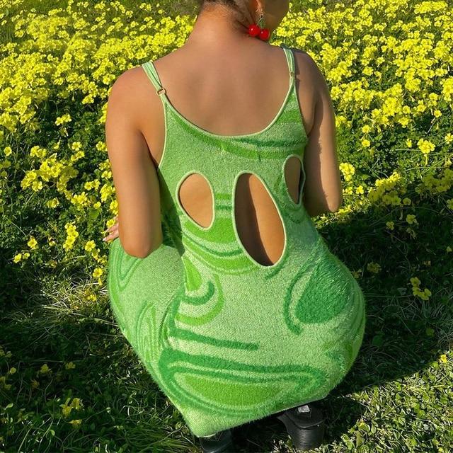 Print Knit Bodycon Dress Women Green Y2K Summer Hollow Out Sexy Sleeveless Spaghetti Strap Beach Midi Dresses Party 5