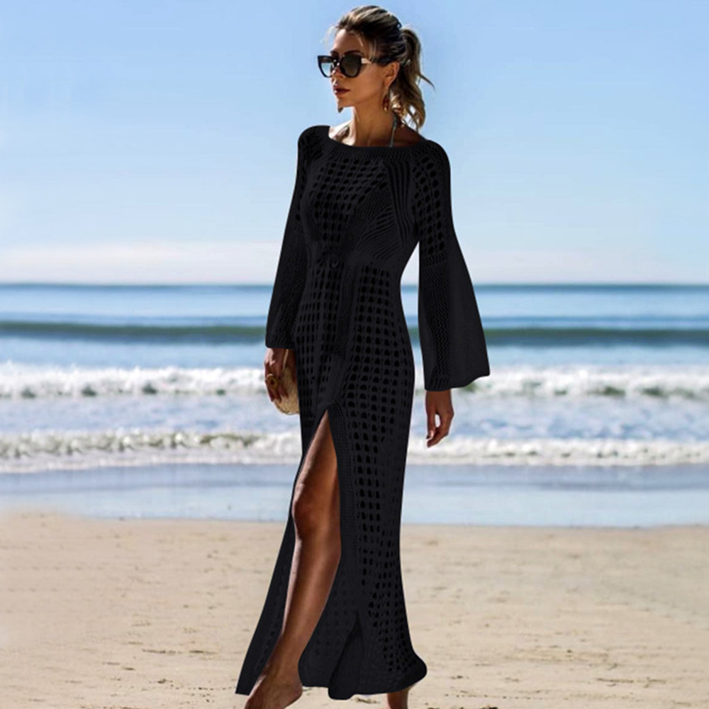 New Knitted Beach Cover Up Women Bikini Swimsuit Cover Up Hollow Out Beach Dress Tassel Tunics Bathing Suits Cover-Ups Beachwear 30
