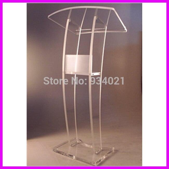 Podio acrílico de diseño moderno práctico, muebles de púlpito plexiglás