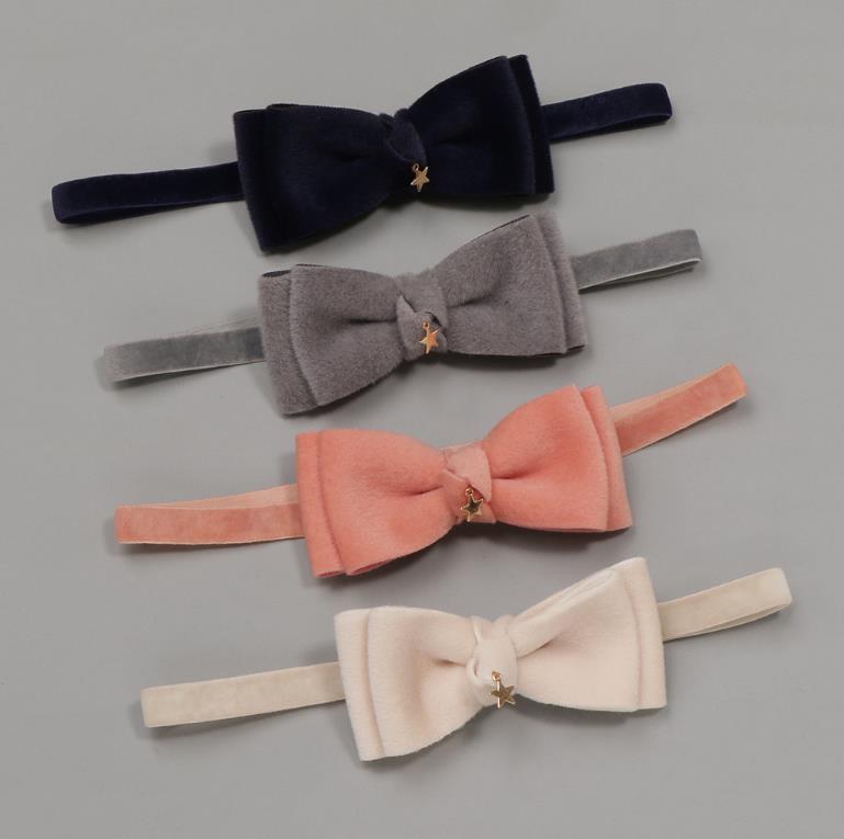 2pcs Elastic Fabric Bow Headbands For Baby Nylon Girls Hair Bows Kids Hair Turban Skinny Stretchy Rubber Velvet Hair Accessories