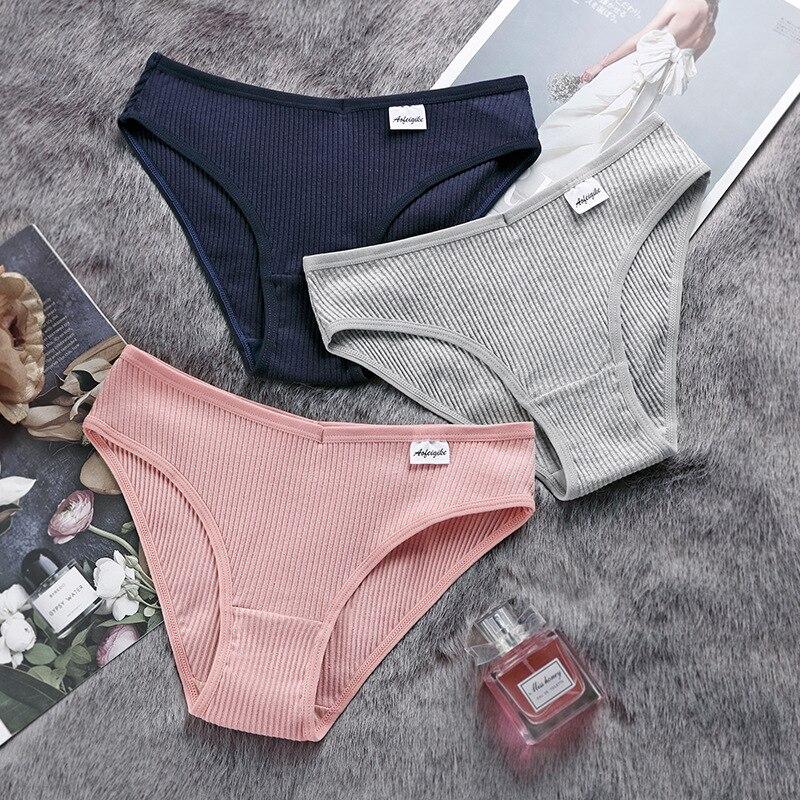 Женские хлопковые трусики S-XXL, сексуальные трусики для женщин, трусики, комфортное нижнее белье, женское нижнее белье размера плюс, однотонн...