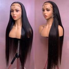 Perruque Lace Front wig sans colle malaisienne naturelle Remy, cheveux lisses, 4x4, 10-30 pouces, pre-plucked, 150% de densité