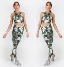 Women flower printing Active Wear gym Outfit Sport Suit Yoga Set Gym Clothing no Padded bra High Waisted leggings workout Suits active net yarn wave point pattern high waisted leggings