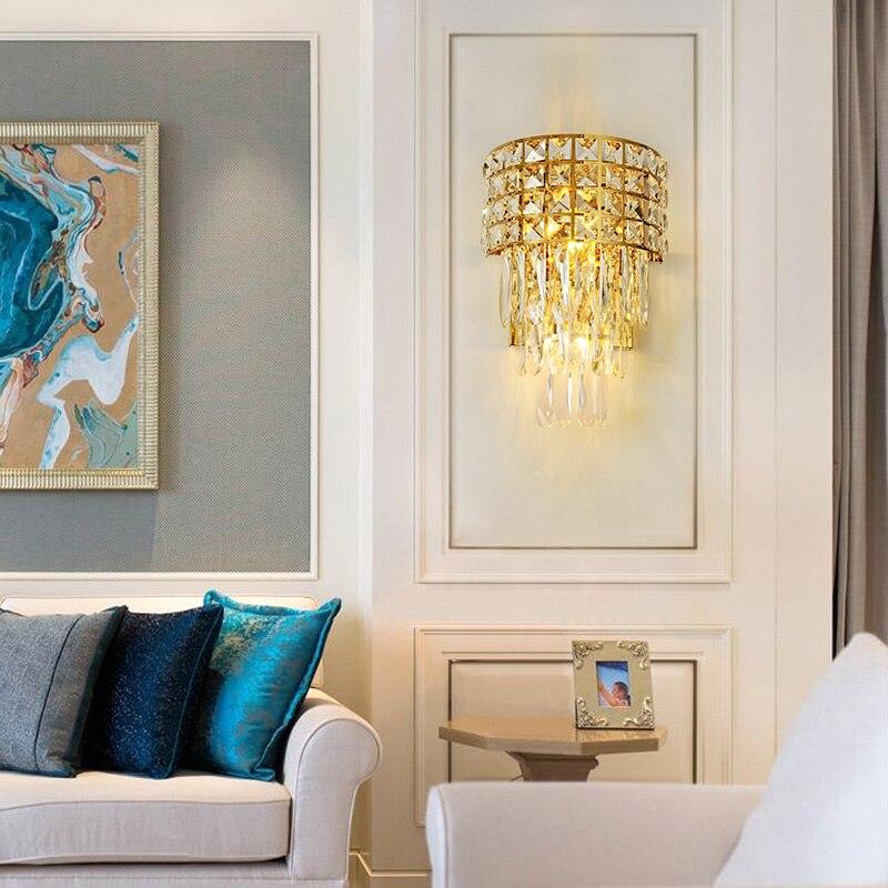Pós moderna cristal conduziu a lâmpada de parede ferro quarto iluminação cabeceira escadas do corredor ouro luxo luminária luzes entrada do hotel - 3