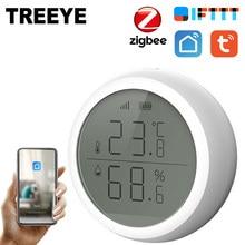 Tuya Smart ZigBee Home-Sensor de temperatura y humedad para interiores, higrómetro, termómetro con pantalla LED, funciona con asistente de hogar