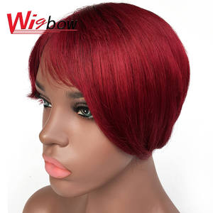 Color Wigs Short Human-Hair Hair-99j Natural-Black for Mom 100%Remy