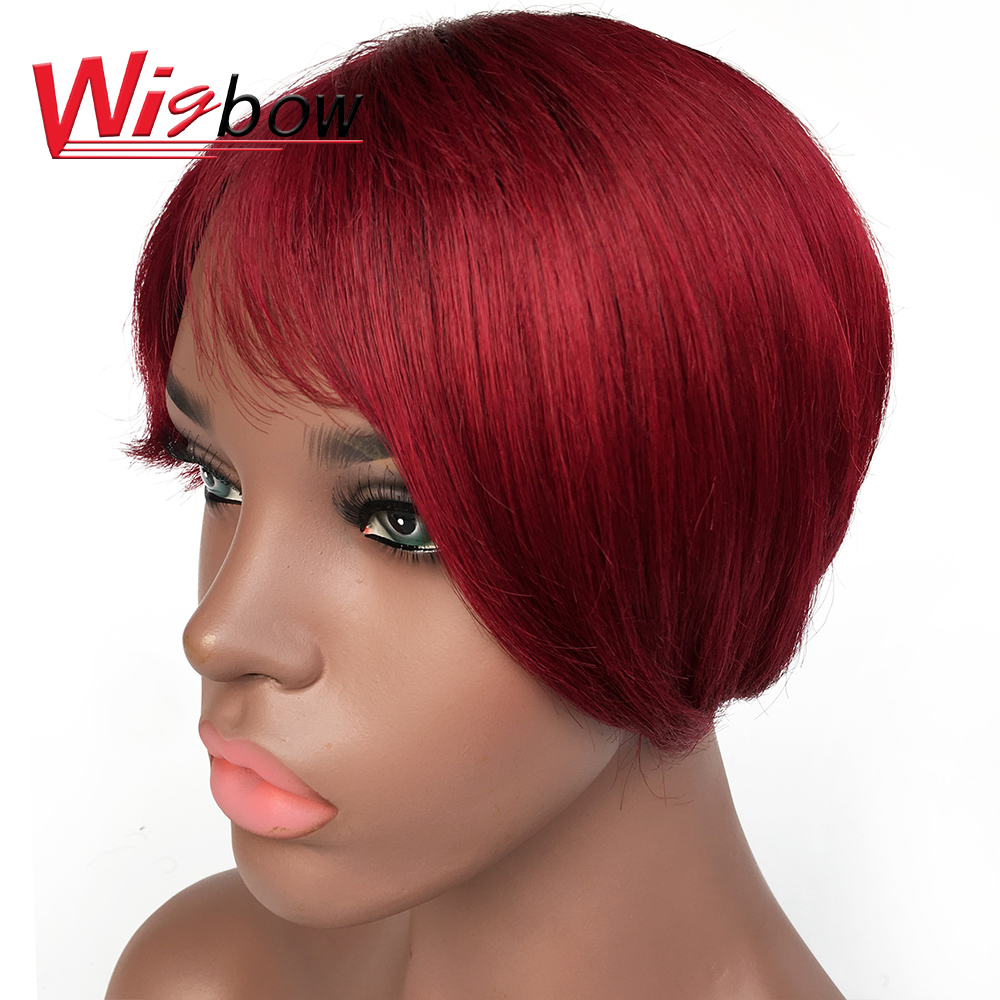 Short Human Hair Wigs 100% Remy Brazilian Hair Wigs Natural Black Short Hair 99J Color Wigs For Mom