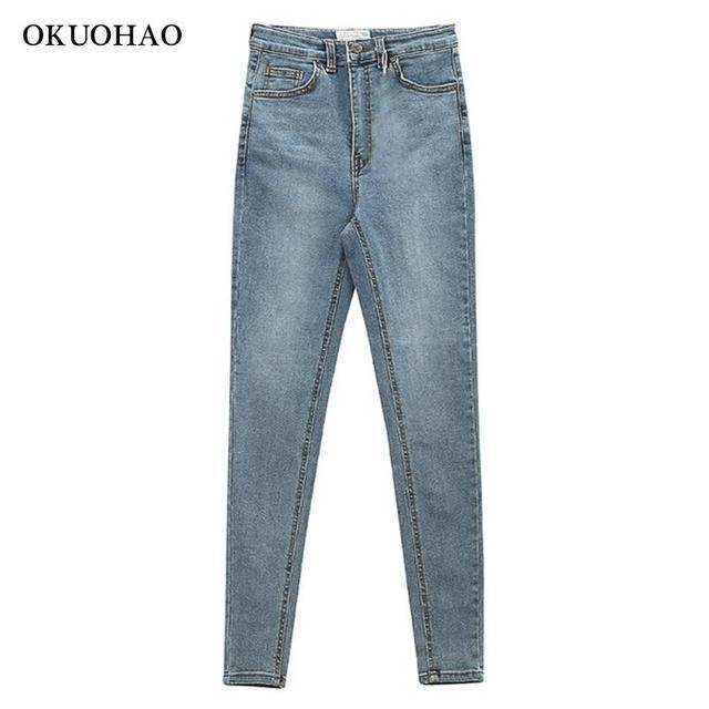 Women's Jeans High Waist Stretch Skinny Denim Trousers 2021 Blue Retro Washed Fashion Sexy Elastic Slim Pencil Pants Oversize 3