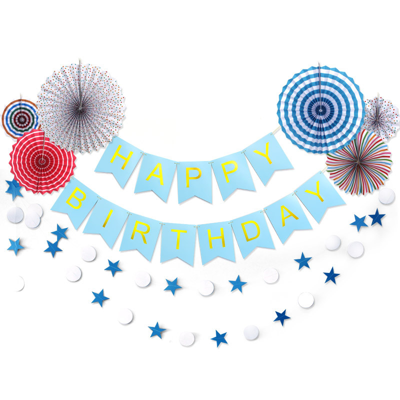 Coloured Paper Fan Flower Theme Baby Party Decorations Set Newborn Baby Girls Birthday Party Baby Shower Party Children's Day