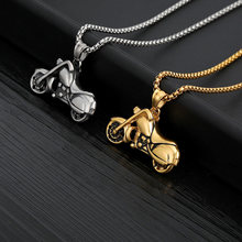 Motorcycle Pendant Necklace Men 2019 Stainless Steel Chain Choker Gold Long Necklace Gothic Jewelry Punk BFF Collier Moto Collar(China)