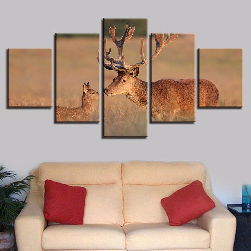 Мультирогатый мужской олень и его дети холст hd ПЕЧАТЬ Плакаты