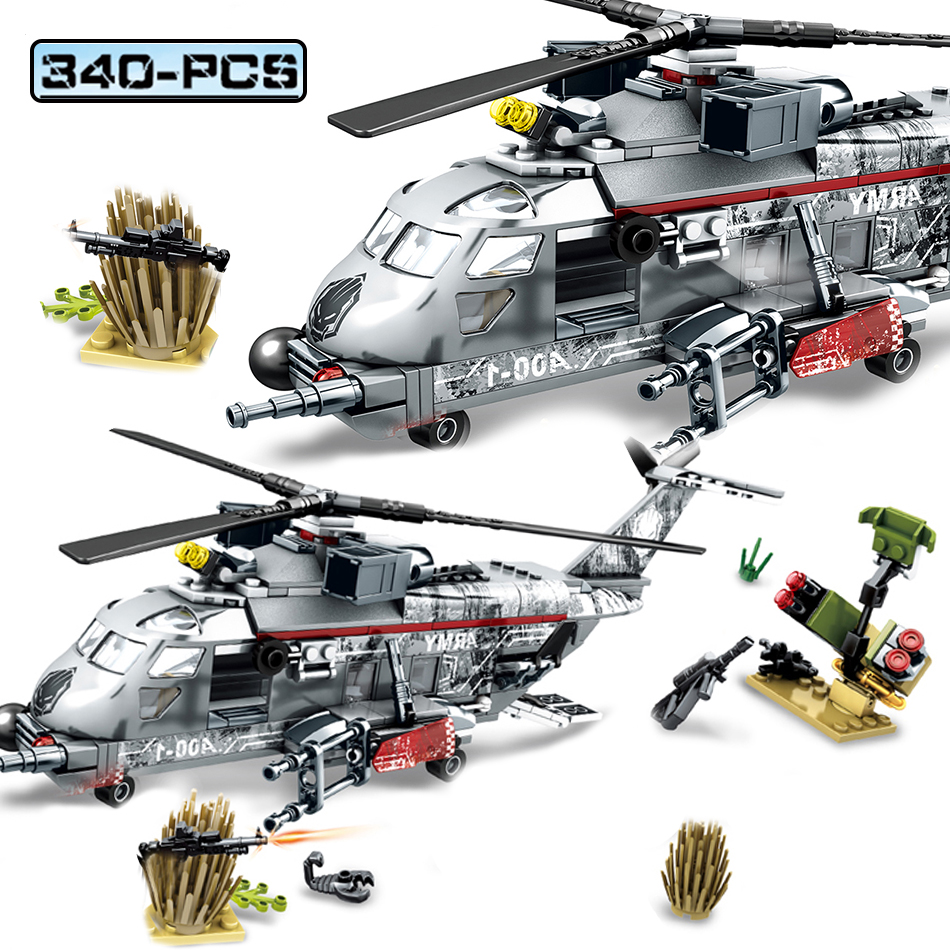 340PCS Military Swat Police Helicopter Plane Army Soldier Figures Educational Building Blocks Kids Toys Compatible Legoed Ww2