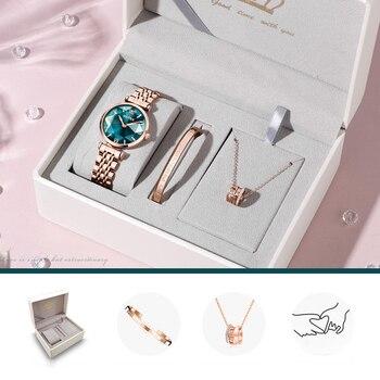 OLEVS New Women Luxury Jewel Quartz Watch Waterproof Stainless Steel Strap Watch For Women Fashion Date Clock 5