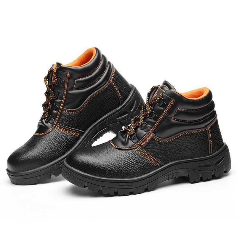 חדש קרסול מגפי גברים מגפי עבודה בטיחות אתחול אנטי לנפץ פירסינג חורף מגפי בלתי ניתן להריסה נעלי פלדת הבוהן נעלי בטיחות מגפיים