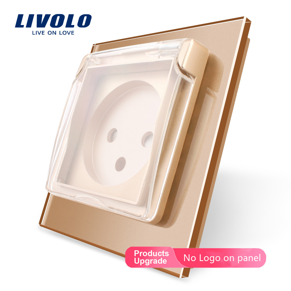 Livolo EU Standard Israel Power Socket,Crystal Glass Panel, 16A,FR Socket,UK US Swizss Plugs ,withWaterproof Cover,no Logo,gold