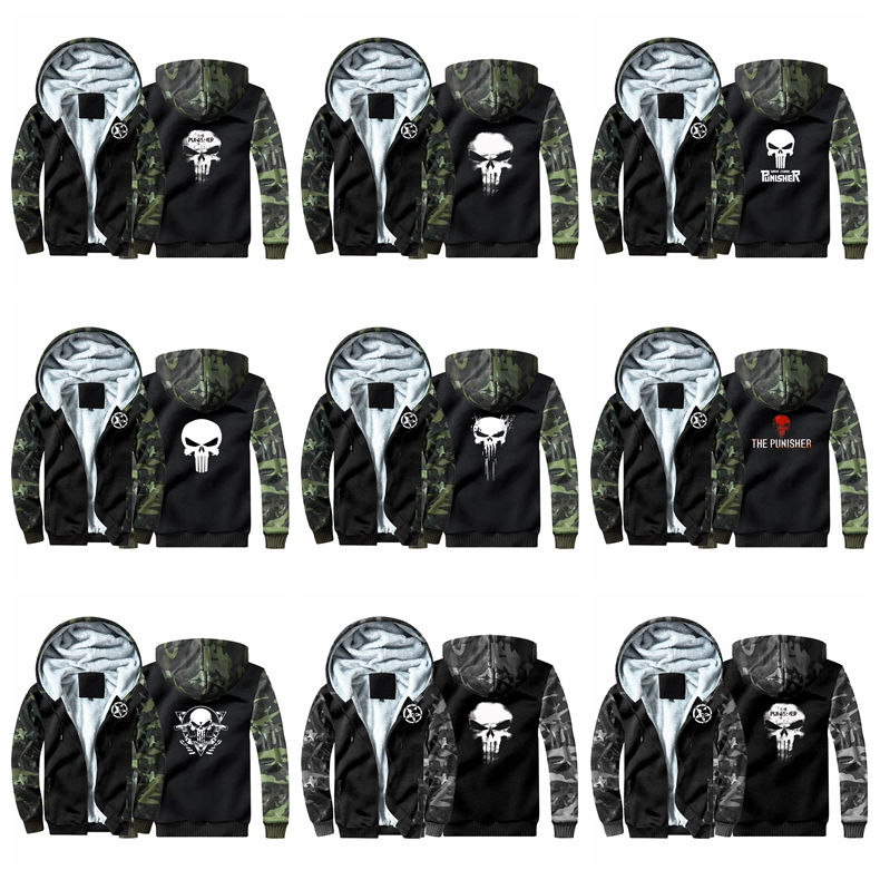 New The Punisher Camouflage Hoodie Sweatshirts Winter Thicken Hooded Coat Cosplay Costume Warm Men Women Clothing