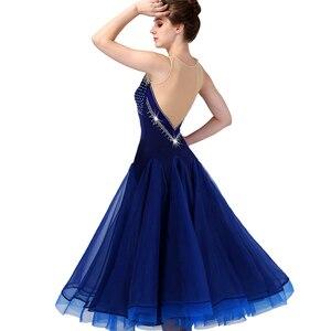 Image 3 - CACARE 社交ダンス競技ドレスワルツ標準ダンスドレス D0955 高級ラインストーンメッシュバックふわふわ裾