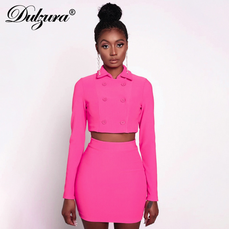 Dulzura Women Blazer Set Co Ord Crop Top Pencil Skirt Sexy Coat Jacket Office OL Suit Elegant Clothes 2019 Autumn Winter 2 Piece