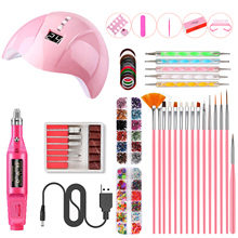 Nail Art Kit for Practice Nail Dryer Nail Lamp Nail Drill Machine Nail Brushes Set Dotting Pens Nail Sticker Nail Manicure Tools cheap abody Nail Lamp Nail Dryer