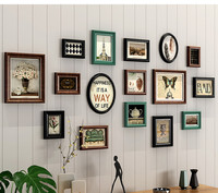 Solid Wood Retro Style Photo Frame Hanging On The Wall Bedroom Combination Picture Frame For Home Decor Collage Photo Frame Set
