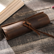 Retro Pencil Case Handmade Genuine Leather Roll Up Pen Curtain Bag Pouch Wrap Holder Stationery School Supplies