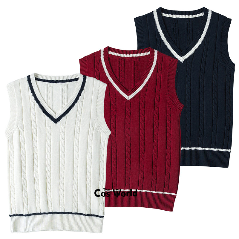 S-XXL Spring Autumn Men's Women's Sleeveless Stripes Knit Vests Pullovers V Neck Sweaters For JK School Uniform Student Clothes