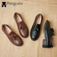 Консервативная обувь для студентов; универсальные оксфорды; женские туфли-Дерби с кисточками; женские мокасины на плоской подошве с бахромой; мокасины для учащихся