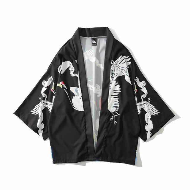 Kimono japonais Cardigan hommes été nouveau Haori samouraï Kimonos karaté Streetwear chemise Kimono Japones hommes Haori Yukata