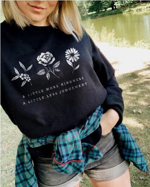 Ein wenig mehr güte ein wenig weniger urteil Sweatshirt Casual Grafik Blume Sparen Sie die Anlage Baumwolle Hoodies Geschenk Jumper Tops