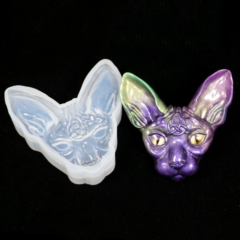 SNASAN Cat Head Silicone Mold Jewelry Tool UV Epoxy Resin Molds  Dried Flower Resin Decorative Crafts