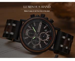 Image 2 - Bobo Vogel Horloge Mannen Montre Hout Horloge Mannen Chronograph Militaire Horloges Luxe Stijlvolle Dropshipping Met Houten Doos Reloj Hombre