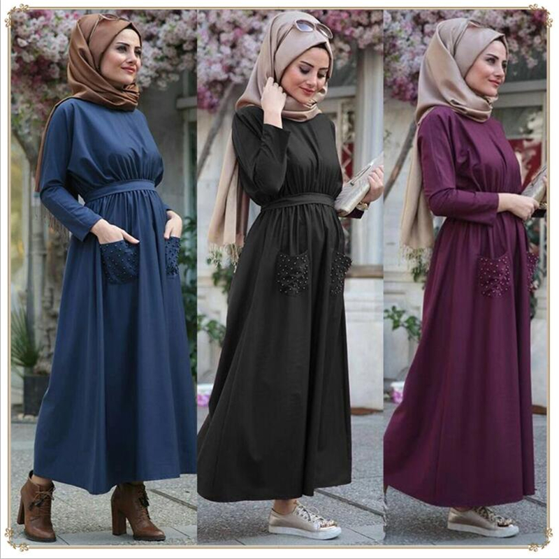 2019 Turkish Ladies Kaftan Dresses Beaded Muslim Women Abaya Arab Dubai Maxi Dress Islamic Clothing Plus Size
