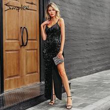 Simplee sexy vestido longo com decote em v, de lantejoulas, alça espaguete, dividido, tamanho grande, elegante, bodycon, para festa
