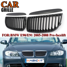 MagicKit 1 Pair Car Racing Grills for BMW Front Kidney Grille Bumper Hood Grill Grilles For BMW E90 05-08 Carbon Car Accessorie стоимость