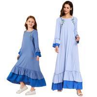 Muslim Mother And Child Matching Maxi Dress Women Girls Embroidery Abaya Islamic Clothing Dresses Arab Family Matching Outfits