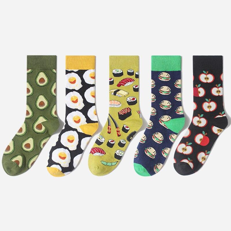 2020 Women Socks Funny Cute Cartoon Fruits Banana Lemon Egg Avocado Cookie Donuts Food Happy Japanese Harajuku Skateboard Socks